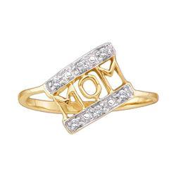 0.06 CTW Diamond Mom Mother Ring 14KT Yellow Gold - REF-11K2W