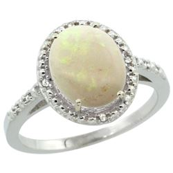 Natural 1.43 ctw Opal & Diamond Engagement Ring 10K White Gold - REF-24X8A