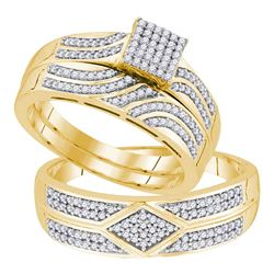 0.33 CTW His & Hers Diamond Matching Bridal Ring 10KT Yellow Gold - REF-64N4F