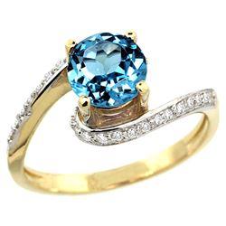 Natural 1.24 ctw swiss-blue-topaz & Diamond Engagement Ring 14K Yellow Gold - REF-52H6W