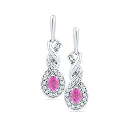 0.60 CTW Oval Created Pink Sapphire Dangle Earrings 10KT White Gold - REF-22Y4X