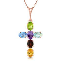 Genuine 1.50 ctw Multi-gemstone Necklace Jewelry 14KT Rose Gold - REF-32Z8N