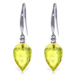 Genuine 18.1 ctw Lemon Quartz & Diamond Earrings Jewelry 14KT White Gold - REF-35H2X