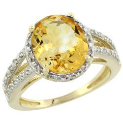 Natural 3.47 ctw Citrine & Diamond Engagement Ring 14K Yellow Gold - REF-46N3G