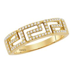 0.20 CTW Diamond Greek Key Ring 10KT Yellow Gold - REF-26Y9X