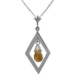 Genuine 0.70 ctw Citrine Necklace Jewelry 14KT White Gold - REF-23K9V