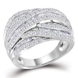 1.58 CTW Diamond Crossover Strand Ring 10KT White Gold - REF-101W9K