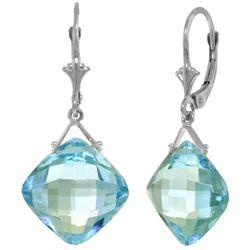 Genuine 17.5 ctw Blue Topaz Earrings Jewelry 14KT White Gold - REF-36Z3N