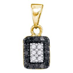 0.20 CTW Black Color Diamond Rectangle Cluster Pendant 10KT Yellow Gold - REF-9F7N