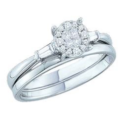 0.25 CTW Princess Diamond Soleil Bridal Engagement Ring 14KT White Gold - REF-44N9F