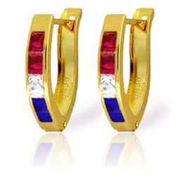 Genuine 1.28 ctw Ruby, White Topaz & Sapphire Earrings Jewelry 14KT Yellow Gold - REF-26W7Y