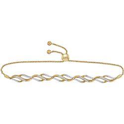0.33 CTW Diamond Bolo Bracelet 10KT Yellow Gold - REF-59K9W
