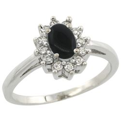 Natural 0.67 ctw Onyx & Diamond Engagement Ring 14K White Gold - REF-47Y7X