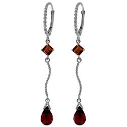 Genuine 3.5 ctw Garnet Earrings Jewelry 14KT White Gold - REF-33Y8F