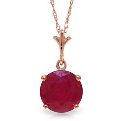 Genuine 2.25 ctw Ruby Necklace Jewelry 14KT Rose Gold - REF-29V3W