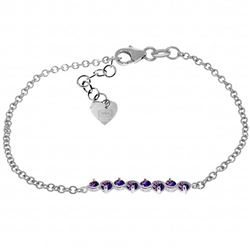 Genuine 1.55 ctw Amethyst Bracelet Jewelry 14KT White Gold - REF-55A3K