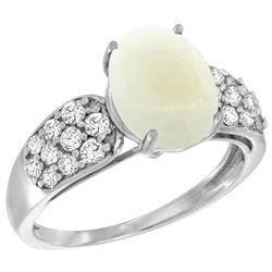 Natural 1.76 ctw opal & Diamond Engagement Ring 14K White Gold - REF-58Z2Y