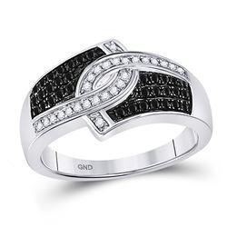 0.33 CTW Black Color Diamond Ring 10KT White Gold - REF-22F4N