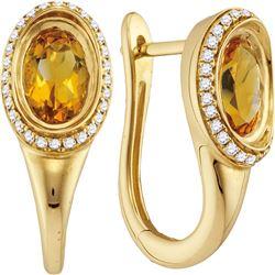 1.57 CTW Oval Natural Citrine Diamond Hoop Earrings 14KT Yellow Gold - REF-87N2F