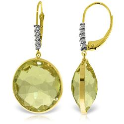 Genuine 34.15 ctw Lemon Quartz & Diamond Earrings Jewelry 14KT Yellow Gold - REF-73W3Y