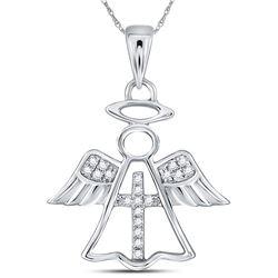 0.05 CTW Diamond Angel Cross Pendant 14KT White Gold - REF-12X2Y
