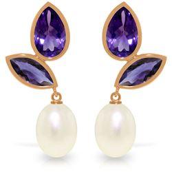 Genuine 16 ctw Pearl & Amethyst Earrings Jewelry 14KT Rose Gold - REF-42T2A