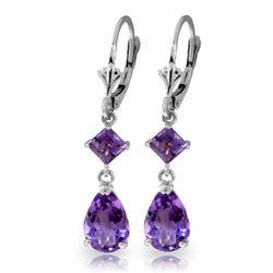 Genuine 4.5 ctw Amethyst Earrings Jewelry 14KT White Gold - REF-41X4M