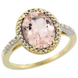 Natural 2.92 ctw Morganite & Diamond Engagement Ring 10K Yellow Gold - REF-49Y8X