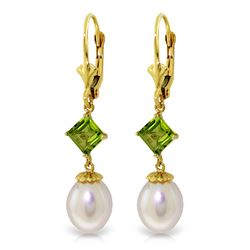 Genuine 9.5 ctw Pearl & Peridot Earrings Jewelry 14KT Yellow Gold - REF-24T4A