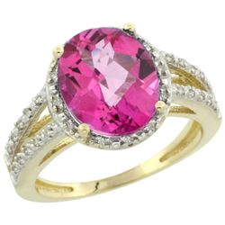Natural 3.47 ctw Pink-topaz & Diamond Engagement Ring 10K Yellow Gold - REF-34R7Z