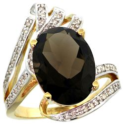 Natural 5.76 ctw smoky-topaz & Diamond Engagement Ring 14K Yellow Gold - REF-92V7F