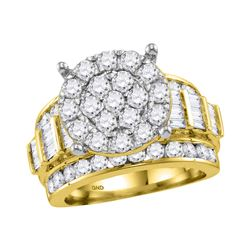 2.95 CTW Diamond Cluster Bridal Engagement Ring 10KT Yellow Gold - REF-224W9K