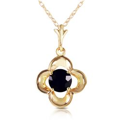 Genuine 0.50 ctw Black Diamond Necklace Jewelry 14KT Yellow Gold - REF-51K5V