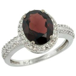 Natural 2.56 ctw Garnet & Diamond Engagement Ring 14K White Gold - REF-45F3N