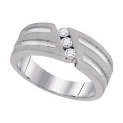 0.27 CTW Mens 3-Stone Diamond Textured Groove Ring 10KT White Gold - REF-37W5K