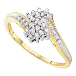 0.10 CTW Diamond Cluster Ring 10KT Two-tone Gold - REF-11Y2X