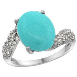 Natural 6.45 ctw turquoise & Diamond Engagement Ring 14K White Gold - REF-72V3F