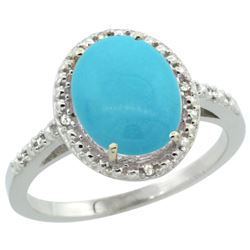 Natural 2.42 ctw Turquoise & Diamond Engagement Ring 14K White Gold - REF-41Z7Y