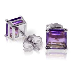Genuine 1.75 ctw Amethyst Earrings Jewelry 14KT White Gold - REF-24N3R