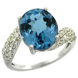 Natural 6.45 ctw london-blue-topaz & Diamond Engagement Ring 14K White Gold - REF-56W7K