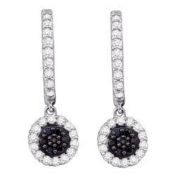 0.50 CTW Black Color Diamond Hoop Flower Dangle Earrings 10KT White Gold - REF-34X4Y