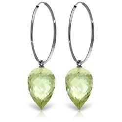 Genuine 19 ctw Amethyst Earrings Jewelry 14KT White Gold - REF-38H6X