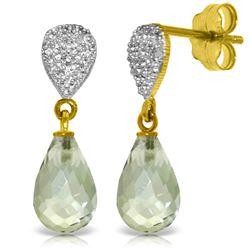 Genuine 4.53 ctw Green Amethyst & Diamond Earrings Jewelry 14KT Yellow Gold - REF-25T6A