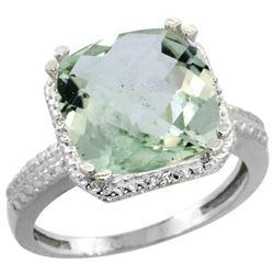 Natural 5.96 ctw Green-amethyst & Diamond Engagement Ring 14K White Gold - REF-42W3K