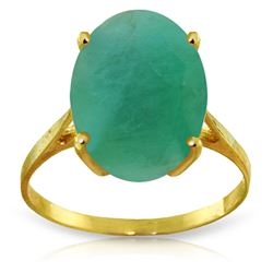 Genuine 6.5 ctw Emerald Ring Jewelry 14KT Yellow Gold - REF-94W4Y