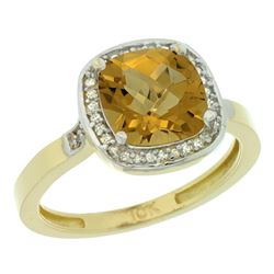 Natural 3.94 ctw Whisky-quartz & Diamond Engagement Ring 14K Yellow Gold - REF-36F7N