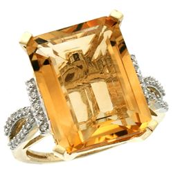 Natural 12.14 ctw Citrine & Diamond Engagement Ring 10K Yellow Gold - REF-53N2G