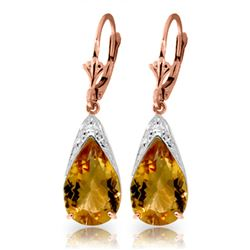Genuine 10 ctw Citrine Earrings Jewelry 14KT Rose Gold - REF-55H5X