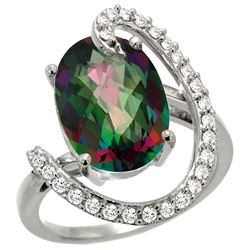 Natural 5.89 ctw Mystic-topaz & Diamond Engagement Ring 14K White Gold - REF-91Z4Y