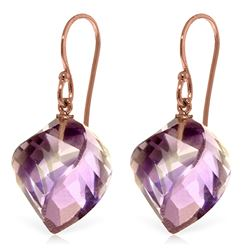 Genuine 21.5 ctw Amethyst Earrings Jewelry 14KT Rose Gold - REF-36A9K